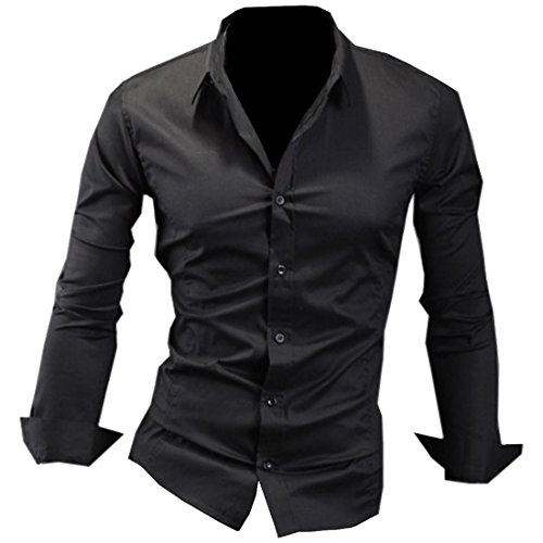 Men In Black Fancy Dress (Partiss Mens Long Sleeve Solid Color Business Dress Shirt Medium,Black)