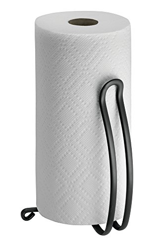 mDesign Metal Vertical Paper Towel Holder Stand and Dispenser, Fits Standard and Jumbo-Sized Rolls for Kitchen Countertop, Pantry, Laundry/Utility Room, Garage Storage - Matte Black by mDesign