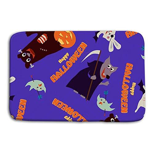 cokefy Doormat Indoor Outdoor Happy Halloween Seamless Pattern Spooky Animals Bear Wolf Rabbit Bird Pumpkins Full Moon mat]()