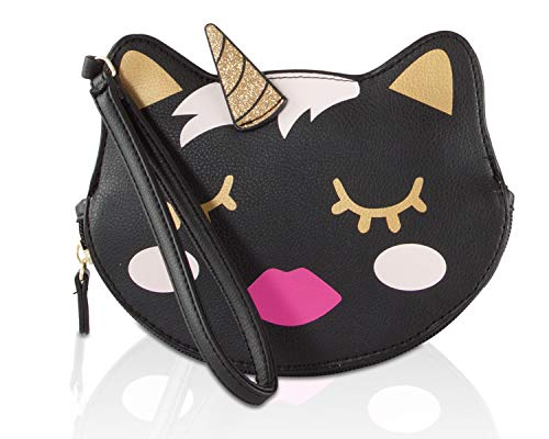 Luv Betsey Johnson LBKIIT Zippered Cat Clutch Wristlet Coin Purse Pouch - Black 3D Unicorn Kitty - Spring Coin Set