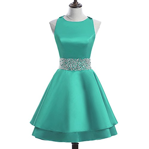 Homecoming Teal Dress (MEILISAY Womens Crew Beading Prom Dresses Short Sequiuned Homecoming Dresses Mini Cocktail Dresses Turquoise,2)