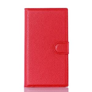 Leather Slim Wallet Phone Case With Card Slots For Blackberry Priv -Red