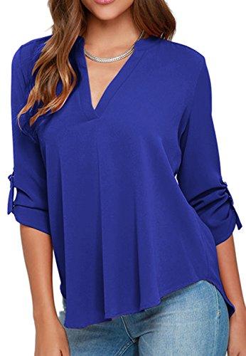(OMZIN Women's Summer Casual Shirt Tops Plus Size Blouse Chiffon Pullover Blue 2XL)