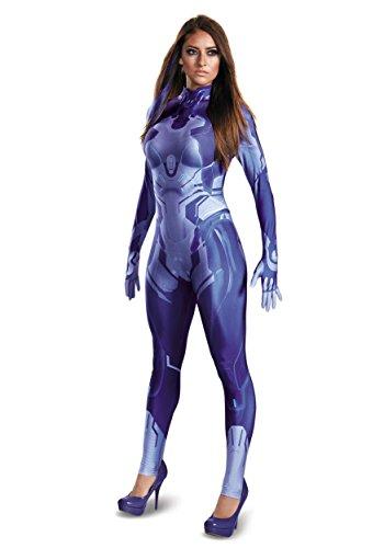 Cortana Costumes (Disguise Women's HALO Cortana Adult Bodysuit Costume, Blue, Medium)