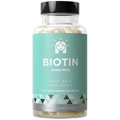 Biotin 5000 mcg, 120 Vegetarian Capsules (for Hair Growth, Skin, and Nails)