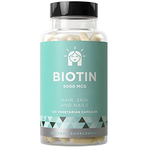 Biotin 5000 mcg, 120 Vegetarian Capsules (for Hair Growth, Skin,...