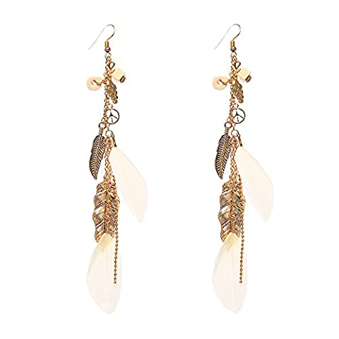 Lureme Vintage Beads and Leaf Pendants Gold Chain Long Feather Earrings-White(er005476-2) (Leaf Ring White Gold)