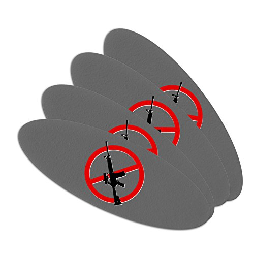 Political Emery Boards - No Assault Rifles Double-Sided Oval Nail File Emery Board Set 4 Pack