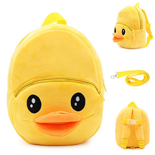 Toddler Ducking Mini Backpack with Safety Leash, Anti-Lost Cute Cartoon Backpack, Safety Kids Harness Backpack, Yellow Duck