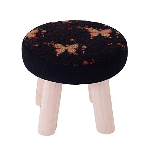 KSDGQ Stool Footstool Sofa Stool Household Fabric Solid Wood Stool Sofa Bench Shoe Bench (Color : Butterfly Swallow, Size : 32 - Footstool Butterfly
