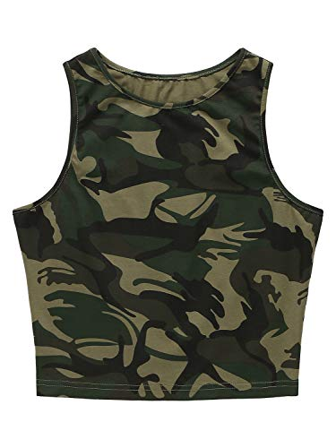 PERSUN Women's Summer Sleeveless Short Tank Camo Crop Top (Small, Army)