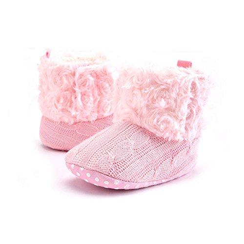 Just Easy–Zapatos para bebé patucos Botas de nieve invierno Plus terciopelo Chica Joven Botines negro caqui Talla:11 cm Rosa