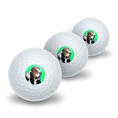 Graphics and More Basset Hound Green Novelty Golf Balls 3 Pack