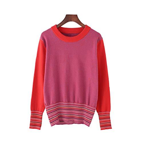 con con con Red pullover collo allentato donna Maglione rotondo rotondo rotondo rotondo maglia lavorato ampio a da 4wxISa