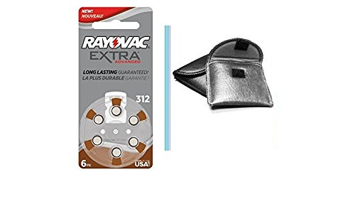 Rayovac Extra Advanced Size 312 Hearing Aid Battery 60 pack includes FREE Hearing Aid Storage pouch
