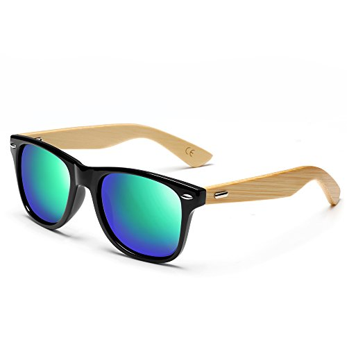 Wood Sunglasses for Man & Woman with Green Lens + - What Lenses Polarised Are