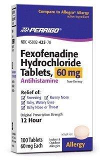 perrigo - Fexofenadine Generic Allegra 60 Mg - 100ct. (Pack of 3)