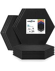 Paneles acústicos hexagonales, 14 x 13 x 0.3 pulgadas, acolchado 3D de absorción de sonido para murales de pared de estudio con adhesivo, tratamiento de amortiguación de sonido, azulejos de reducción de reflejo de ruido con autoadhesivos