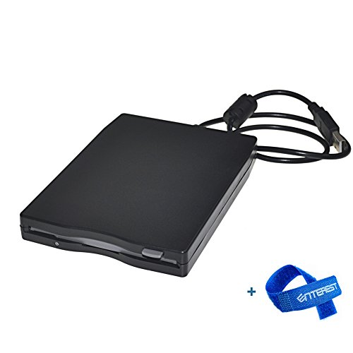 Enterest Ultra-thin Portable External USB 1.44 MB FDD Floppy Disk Drive for Windows 98/2000/ME/XP/Vista/7&8&8.1 (Black) by Enterest
