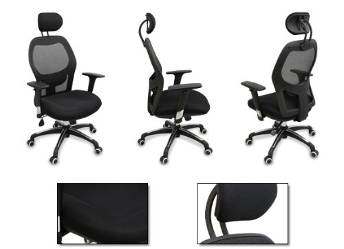 walker ergonomic executive mesh office chair fully adjustable headrest armrests lumbar. Black Bedroom Furniture Sets. Home Design Ideas