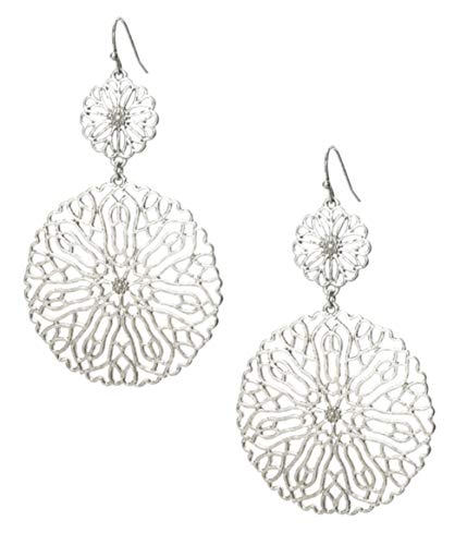 (Pomina Large Round Lacy Floral Silver-Tone Filigree Flower Disk Dangle Earrings 2.9 Inches Long)