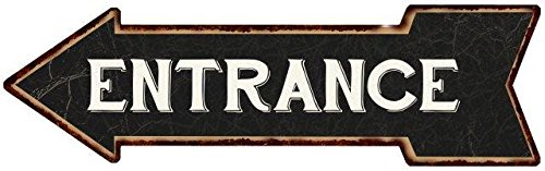 Entrance White on Black Left Arrow Vintage Looking Metal Sign 5x17 5170067 (Vintage Arrow Metal)