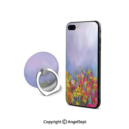 - iPhone 8 Case/iPhone 7 Case with Ring Holder Kickstand,Blooming Tulips with Green Leaves in The Botanical Garden with Paint Effect Image,for Girls,Multicolor