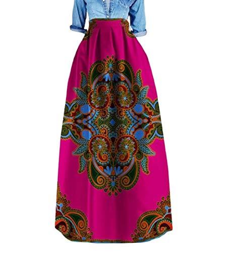 Zimaes Women Plus Size Africa Highwaist Dashiki Stylish Simple Long Skirt 1 3XL by Zimaes-Women