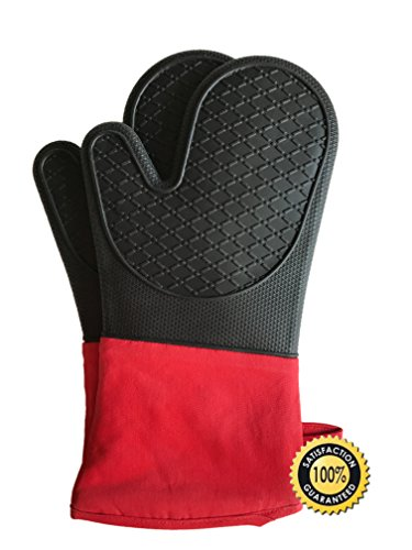 Silicone Heat Resistant BBQ Grill Oven Mitts by JY Modern, Extra Long 1 Pair, Heavy Duty Professional Grade Potholders, 100% Quality Gloves, Non-Slip, Water Resistant, Protects to 482° BBQ, Kitchen by JY Modern