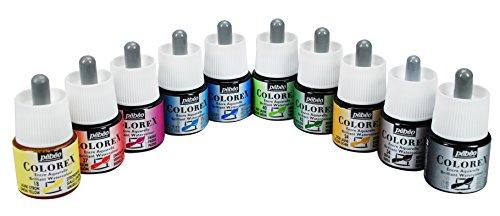 Pebeo Colorex, Watercolor Ink, 10 Assorted 45 ml Bottles (Pebeo Drawing)