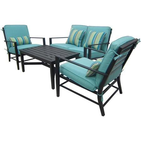 Amazon.com : Adjustable Mainstays Rockview Comfortable 4 Piece Patio  Conversation Set, Seats 4 Amazing Felling Rest Durable Steel Tempered  Safety Adaptable ...