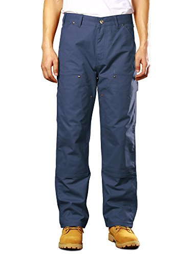 Men's Double Front Canvas Work Dungaree Cargo Pant, Durable Carpenter Jean #6056-Blue, (Mens Double Front Canvas)