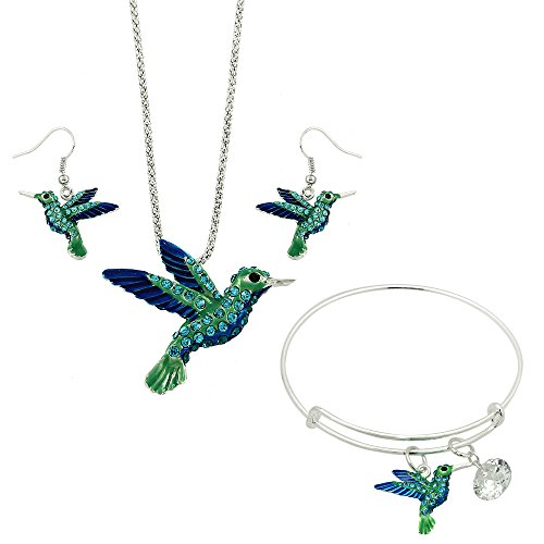Lola Bella Gifts Crystal Hummingbird Necklace Earrings and Bracelet Set w Gift Box (Necklace Crystal Spirit)