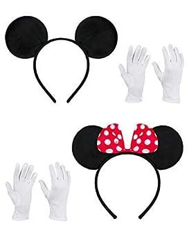 Balinco Doppelpack mit Maus Haarreifen / Maus Ohren mit roter Schleife und weißen Punkten & Maus Ohren in schwarz inklusive 2