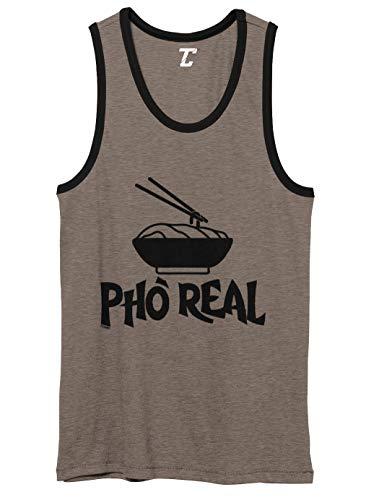 Pho Real - Noodles Vietnamese Food Unisex 2-Tone Tank Top (Charcoal/Black, Medium)