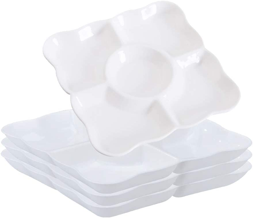 4 Pcs White Plastic Divided Appetizer Serving Tray 5-Section Candy Snack Salad Desserts Dried Fruit Nuts Plate for Thanksgiving Wedding Home Office Party