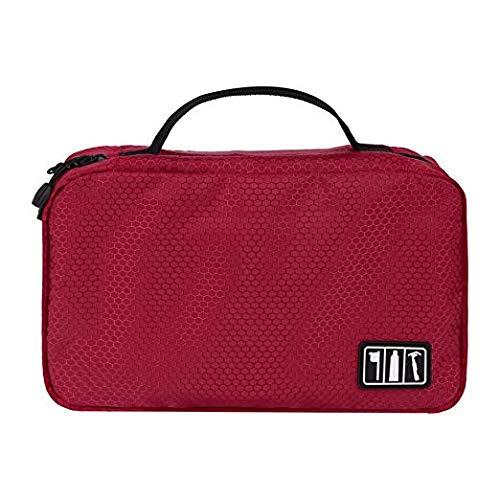 G2PLUS Portable Bi-fold Travel Hanging Storage Bag/Toiletry Bag/Shaving Bag, Insert Pouch Organizer for Makeup Towel Underwear etc.(Style 1, Red)