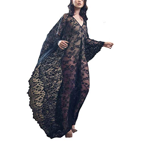 Women Oversize Lace Cover Up and Long Loose Kaftan Dress(Lace Black, One Size)