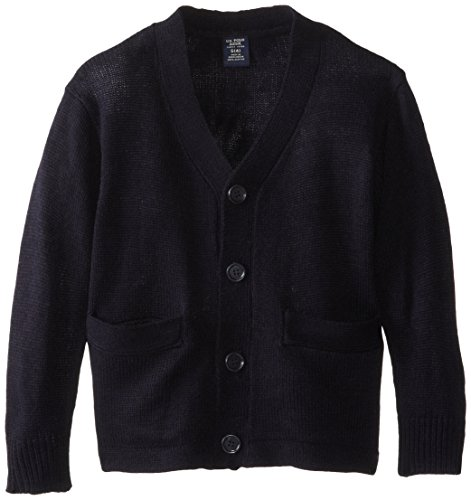 U.S. Polo Assn. Little Boys Long Sleeve V-Neck Classic Cardigan Sweater, Navy, 7