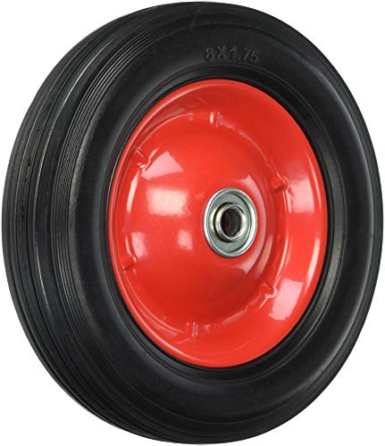 Shepherd Hardware 9636 8-Inch Semi-Pneumatic Rubber Tire, Steel Hub with Ball Bearings, Ribbed Tread, 1/2-Inch Bore Centered Axle ()