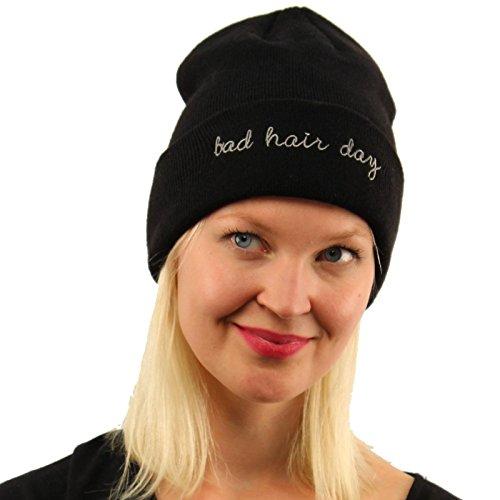 Bad Hair Day Warm Chunky Thick Stretchy Cuffed Knit Beanie Skull Cap Hat - Cuffed Pull
