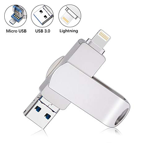 Sanfeya USB 3.0 Flash Drive for iPhone, 32GB Lightning Flash Drive 2-in-1 USB Thumb Drive, External Storage Memory Stick for iPhone iPad MacBook iOS Windows PC