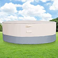Waterproof Patio Table Cover Heavy-Duty Outdoor Round Picnic Table Cover Beige Grey 84'' X 27.5'' Outside Furniture Cover Dust-Resistant UV-Resistant for Deck, Lawn,Backyard,Zadst Cycle FC-01Rtb