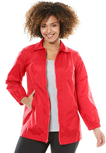 (Woman Within Plus Size Zip Front Nylon Jacket - Hot Red, M)
