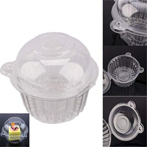 Disposable Clear Plastic Single Individual Cupcake Muffin Dome Design Holders With Cases Boxes Cups Pods-50pcs