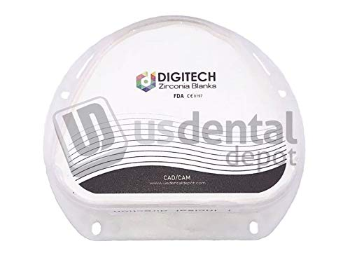DIGITECH - ST PRE A2 Dental Zirconia Block Super Translucent AG 93mm x 75mm x 20mm - D-Form - 1 Block per Box (PRESHADED) AMANN GIRRBACH 124515