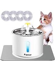 Parner Kattendrinkfontein, waterdispenser voor katten met waterniveauvenster, cat water fountain roestvrij staal met 4 stuks hygiënische filters en 1 siliconenmat, drinkfontein voor huisdieren met ledlicht.