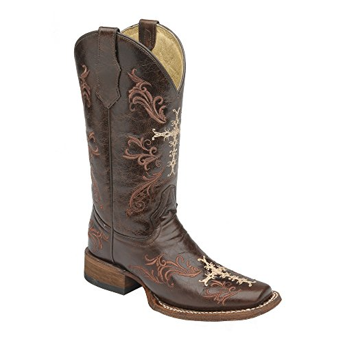 Corral Circle G Women's L5080 Cross Embroidery Brown Western Boots 10 M (Corral Boots Women Cross)