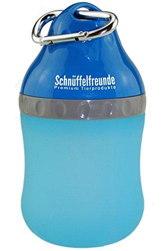 Trinkflasche für Hunde mit Edelstahl-Karabinerhaken | Deckel der Wasserflasche unterwegs als Wassernapf nutzbar, 400ml, blau, für große und kleine Hunde