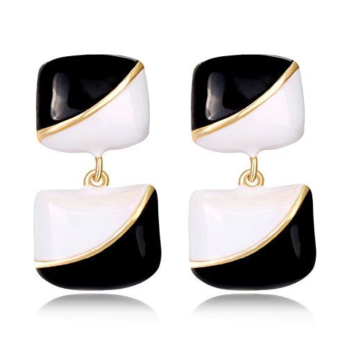 Black Enamel Drop - Trenton Lovely White Black Enamel Rectangle Dangle Wedding Party Drop Earrings
